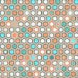 Abstract geometric hexagon seamless pattern in blue and orange, vector — Imagens vectoriais em stock