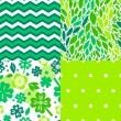 Fresh green leaves and plants seamless patterns collection, vector — Stock Vector