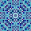 Colorful Abstract geometric pixel art background in blue, vector — Imagens vectoriais em stock