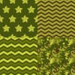 Military green seamless patterns set: camo, chevron, stars. Vector background. — Stock Vector