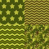 Military green seamless patterns set: camo, chevron, stars. Vector background. — Stock Vector