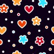 Colorful hearts and flowers on black crochet seamless pattern, vector — 图库矢量图片