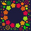 Cute colorful summer floral frame background on dark blue, vector - Image vectorielle