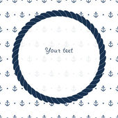 Blue and white navy circle frame with anchors card background, vector — Stock Vector