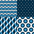Marine seamless patterns collection in blue black and white - chevron, dots, stripes, circles, vector — Stock Vector