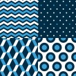 Stock Vector: Marine seamless patterns collection in blue black and white - chevron, dots, stripes, circles, vector