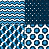 Collection de patrons sans couture marine en bleu, noir et blanc - chevron, dots, stripes, cercles, vecteur — Vecteur