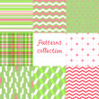 Simple geometric seamless patterns set in red and green, vector — Stock Vector