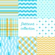 Simple geometric seamless patterns set in blue and yellow, vector — Imagen vectorial