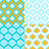 Abstract geometric colorful seamless patterns in blue and yellow set, vector — Stock Vector