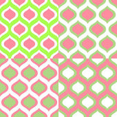 Abstract geometric colorful seamless patterns in green and pink set, vector — Stock Vector