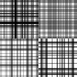 Abstract checkered seamless patterns set in shades of grey, vector — Stock Vector