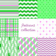 Simple geometric seamless patterns set in violet and green, vector — Stock Vector
