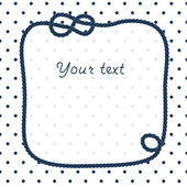 Navy blue rope knots frame for your text on dots white background, vector — Stockvektor