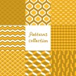Abstract art deco geometric seamless patterns set in shades of gold, vector — ストックベクタ