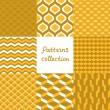 Abstract Art-Deco-geometrische nahtlose Muster-Set in den Farben Gold, Vektor — Stockvektor