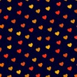 Stock Vector: Simple hearts seamless pattern in dark blue and red, vector