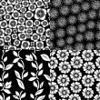 Floral seamless patterns set in black and white, vector — Stock Vector