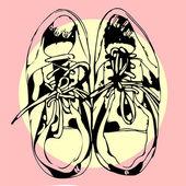 Sportschoenen hand getrokken schets op p! nk, vectorillustratie — Stockvector