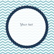 Round navy blue rope frame background for your text or photo on chevron, vector — Stock Vector