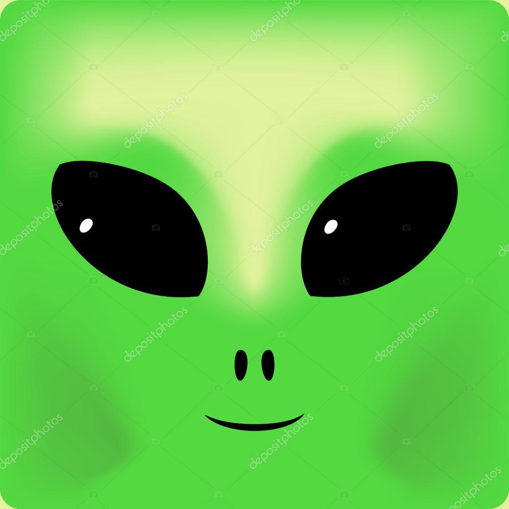 可爱绿色微笑外星人脸的背景