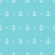 White anchors and dots on blue lacy mesh seamless pattern, vector — Stock Vector