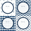 Navy blue and white travel round frames set on chevron, scalloped and anchor patterned backgrounds, vector — Векторная иллюстрация