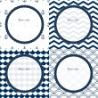 Navy blue and white travel round frames set on chevron, scalloped and anchor patterned backgrounds, vector — Stock Vector #26859571