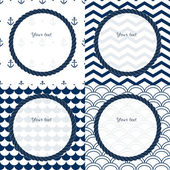 Navy blue and white travel round frames set on chevron, scalloped and anchor patterned backgrounds, vector — Stock Vector