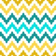 Stock Vector: Colorful zigzag geometric seamless pattern in blue and yellow, vector