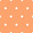 White polka dot on orange lace mesh seamless pattern, vector — Stock Vector