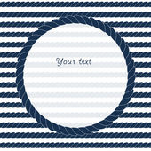 Navy blue and white circle rope frame background for your text or image, vector — Vetor de Stock