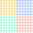 Houndstooth fabric in pastel colors seamless pattern set, vector — Stock Vector