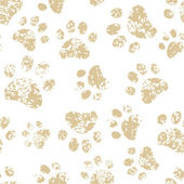 Cat or dog brown paw prints on white seamless pattern, vector — Stock Vector