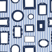 Gallery frames on a striped wall seamless pattern in blue and white, vector — Stock Vector