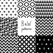 Stock Vector: Black and white geometric seamless patterns set, vector