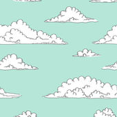 White cartoon fluffy clouds in the blue sky seamless background, vector — Stock Vector