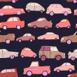 Cute cartoon pink cars on dark blue seamless pattern, vector — Stock Vector