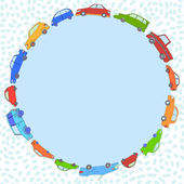 Colorful cute cars round frame with a copy space, vector background — Stock Vector