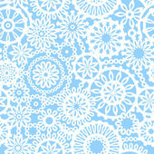 Blue and white geometric crochet circle flowers seamless pattern, vector — Stockvector