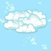 White clouds in the blue sky paper grunge background, vector — Stock Vector