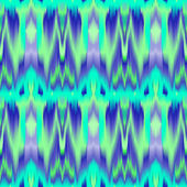 Colorful tie dye ethnic geometric fabric seamless pattern in blue and green, vector — Stockvektor