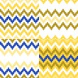 Colorful ethnic zigzag geometric seamless patterns set in blue, white and yellow, vector — Stockvectorbeeld