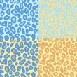 Leopard animal print seamless patterns set in blue and brown, vector — Stock Vector