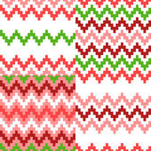 Colorful ethnic zigzag geometric seamless patterns set in red, pink, white and green, vector — Stock Vector