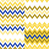 Colorful ethnic zigzag geometric seamless patterns set in blue, white and yellow, vector — Stock Vector