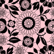 Black delicate floral lace on pink seamless pattern, vector — Stock Vector