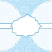 Weißer rahmen für ihren text auf blaue filigrane spitzen hintergrund karte, vektor — Stockvektor