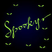 Spooky calligraphic lettering on dark blue with evil green eyes, halloween vector background — Stock Vector