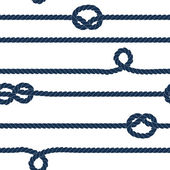 Navy rope and marine knots striped seamless pattern in blue and white, vector — Vetor de Stock
